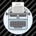 paper, sheet, supplies, text, tools, typewriter, writing icon