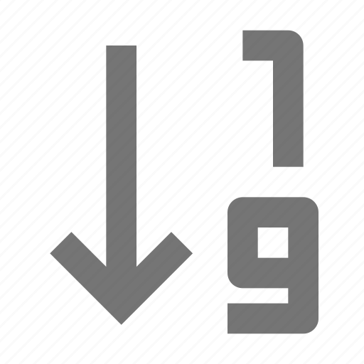 arrow, ascending, controls, document, numbers, numerical order, settings, tools icon