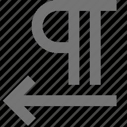 align left, arrow, paragraph icon