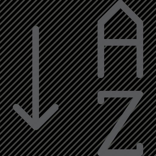 alphabetical, arrange, arrow, down, letter, organize, parameters, text icon