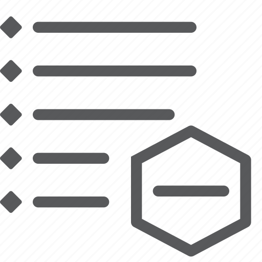 font, list, minus, organization, parameters, remove, subtract, text icon