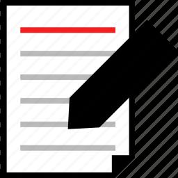 edit, homework, page, paper icon