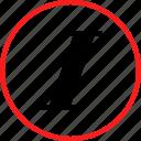 info, italics, slant icon