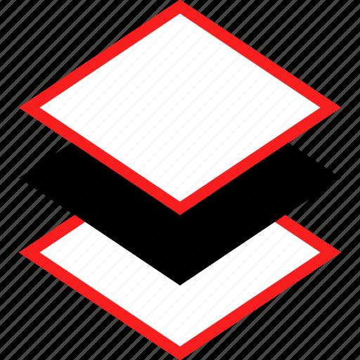 layer, layers, three icon