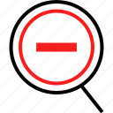 line, negative, out, zoom icon