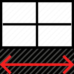 arrows, expand, rectangle icon