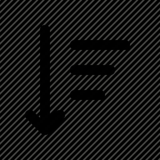 author, down, editor, sort, text, write, writer icon