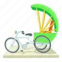 cartoon, india, indian, indian bicycle, rickshaw, tourism, travel icon