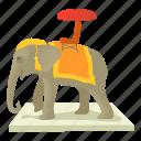 cartoon, elephant, head, india, mammal, tail, zoology icon