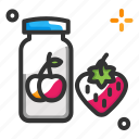 food, jam bottle, strawberry, thanksgiving day icon