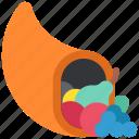autumn, cornucopia, food, fruit, thanksgiving, vegetable icon