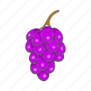 bunch, cartoon, food, fruit, grape, leaf, wine icon