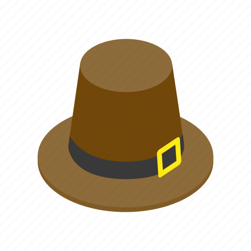 brown, hat, holiday, isometric, pilgrim, thanksgiving, traditional icon