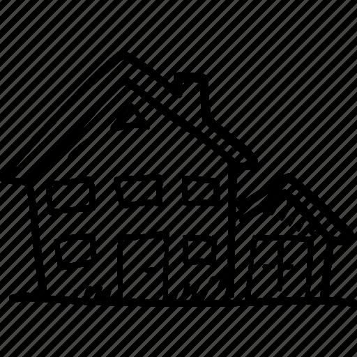 apartment, cottage, estate, house, suburbs icon
