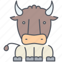 animal, bull, cattle, domestic, ox, rural, village icon