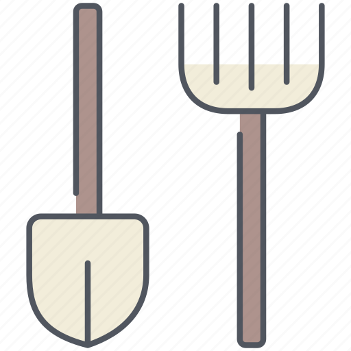 agriculture, farming, gardening, rake, rural, shovel, village icon