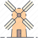 energy, generator, rural, turbine, village, wind, windmill icon