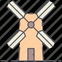 windmill, energy, generator, rural, turbine, village, wind