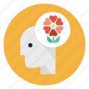 eco, flower, head, human, life, mind, think icon