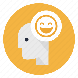 account, happy, head, human, mind, smile, think icon