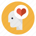 falling in love, favorite, head, heart, like, love, mind icon