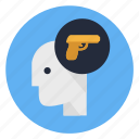 gun, human, man, mind, profile, think, war icon