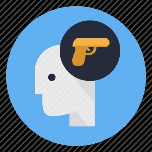 gun, human, man, mind, profile, think, war icon