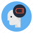 battery, energy, fatigued, flagging, foamy, low power, tired icon