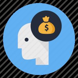 business, cash, corruption, dollar, mind, money, thinking icon