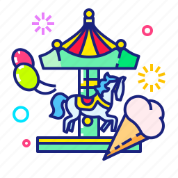 attraction, ice cream, merry-go-round, roundabout icon