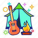 camp fire, campsite, tent, ukulele icon