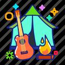 campsite, camp fire, tent, ukulele