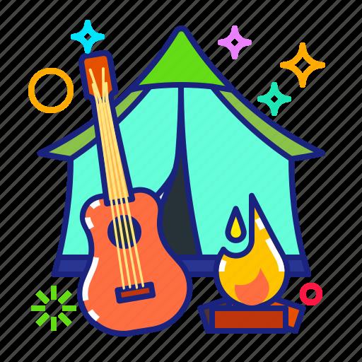 camp fire, campsite, tent, ukulele icon