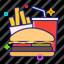 burger, drink, fast food, fries