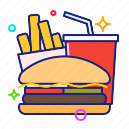 burger, drink, fast food, fries icon
