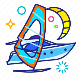fitting, sea, water, windsurfing icon