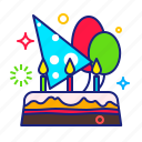 balloon, birthday, cake, party icon