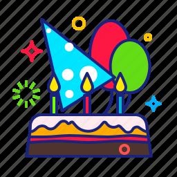 balloon, birthday, cake, party icon
