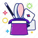 bunny, hat, magic, rabbit icon