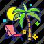 chaise longue, palm, seashore, travel icon