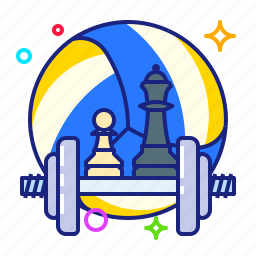 ball, chess, dumbbells icon