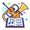 instrument, music, symphonic, violin icon