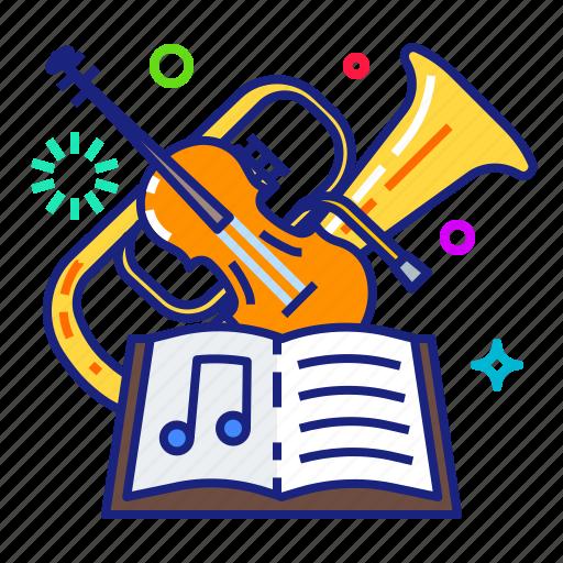 instrument, music, symphonic, violin icon