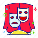 comedy, mask, theatre, tragedy icon