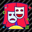 theatre, comedy, mask, tragedy icon
