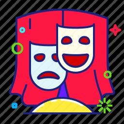 comedy, mask, theatre, tragedy icon