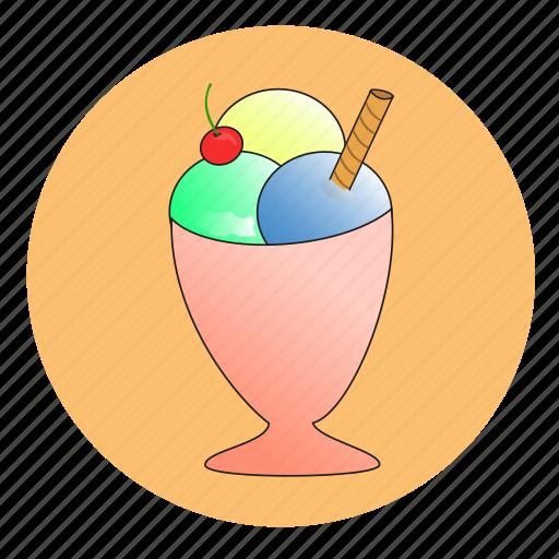 coupe de glace, girly, glace, ice, ice cream, icecream, vanilla ice cream icon