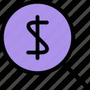 cash, find, magnifier, money, search