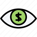 currency, eye, money, money-oriented, vision icon