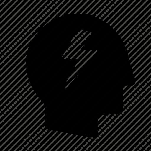 brain, creative, electricity, energy, idea, light, think icon